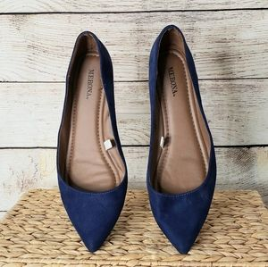 Merona blue faux suede pointed low heeled wedges